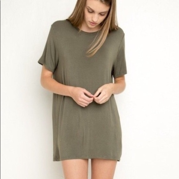 39bf4ae0ec7c Brandy Melville Dresses & Skirts - Brandy Melville Olive Green T Shirt Dress